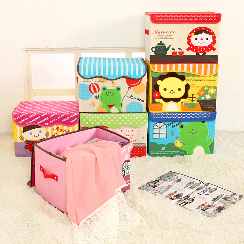 QUBABOBO Waterproof Cartoon Storage Box Toy Organizer Snacks Clothes Storage Container Clothing Organizer With Cap Big Capacity