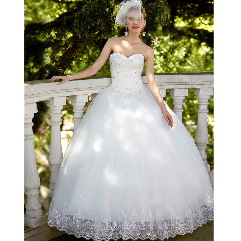 LAN TING BRIDE Ball Gown Sweetheart Floor Length Lace Tulle Custom Wedding Dresses with Sequin Appliques Robe de mariage
