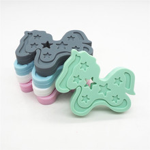 Chenkai 10PCS BPA Free Silicone Horse Teether DIY Baby Hobbyhorse Nursing Pendant Beads Dummy Toy Crafts Cockhorse