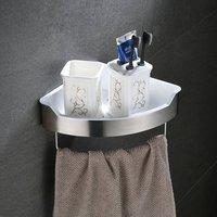 Leyden Wall Mounted 304 Stainless Steel Single Tier Brushed Bathroom Shelf With Towel Bar Bathroom Accessories Towel Rack