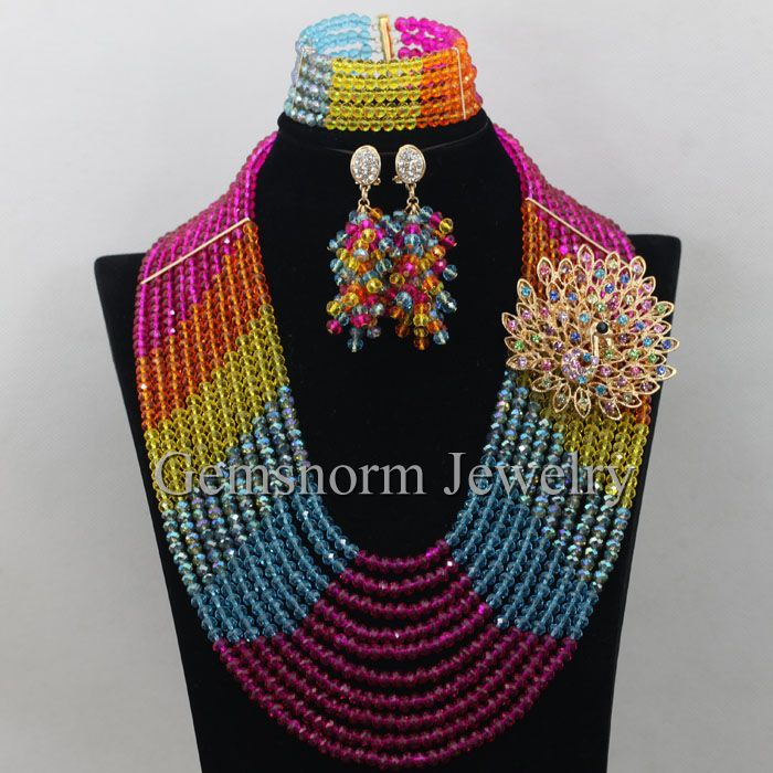 Fantastic Multicolor Nigerian Wedding African Beads Jewelry Set Crystal Costume Women Christmas Necklace Set Free Shipping WA131Fantastic Multicolor Nigerian Wedding African Beads Jewelry Set Crystal Costume Women Christmas Necklace Set Free Shipping WA131