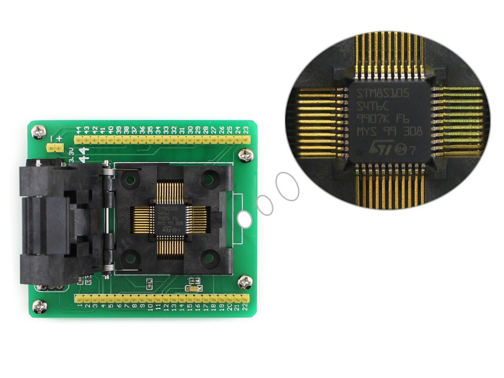 Free shipping STM8 QFP44 STM8 Programming Adapter IC Test Socket for LQFP44 Package 0.8mm Pitch with SWIM Port = STM8-QFP44  цены онлайн