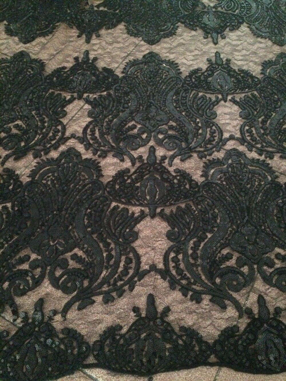 Ev ve Bahçe'ten Dantel'de Sıcak tasarım siyah afrika işlemeli dantel kumaş Z han51021 payetler ile'da  Grup 2