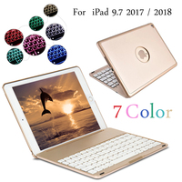 7 Colors Backlit Light Wireless Bluetooth Keyboard Cover Case For iPad 9.7 2017 2018 A1822 A1823 A1893 A1954 + Stylus + Film