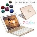 7 farben Backlit Licht Drahtlose Bluetooth Tastatur Abdeckung Fall Für iPad 9,7 2017 2018 A1822 A1823 A1893 A1954 + Stylus + Film