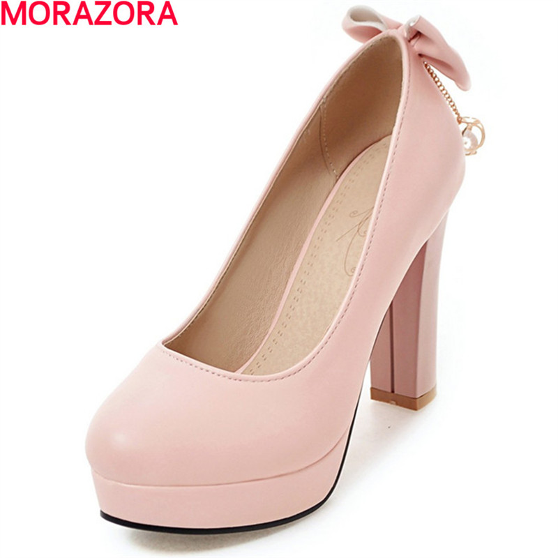 MORAZORA big size 34-43 High heel 6.5cm shallow single shoes woman fashion sweet rhinestone wedges shoes round toe women pumps blue extrem high heel shoes 2018 snake printing women shoes fashion shallow mouth pumps woman wedding shoes big size