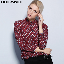2017 Hot Sale Women Shirts tops new 100% Silk print star Shirt Fashion Female Star Women's Long Sleeve Polo Collar Basic Blouses