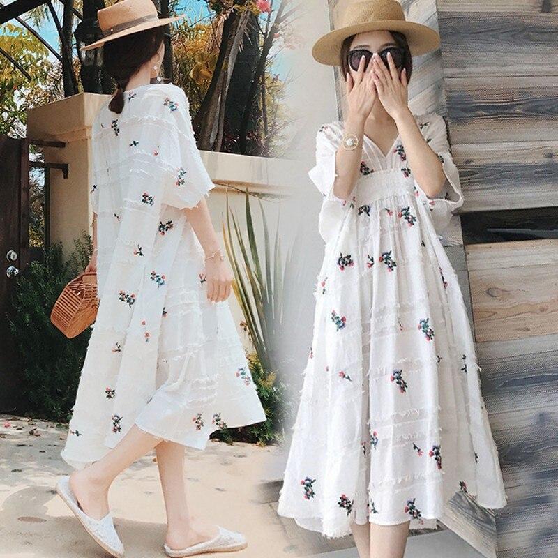 2PCS Vest + Long Dress Cotton Linen Summer Dress For Pregnant Women Maternity Summer Clothes For Pregnancy Floral Pregnant Dress
