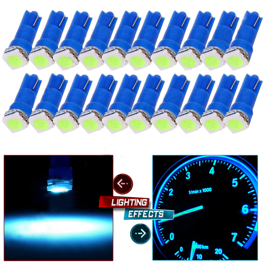 20 Pieces T5 Ice Blue Dashboard Gauge 5050SMD LED Wedge Lamp Bulb Lights
