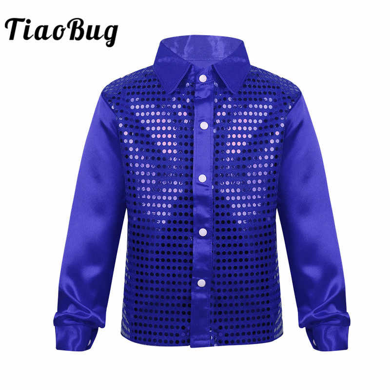 TiaoBug Kids Boys Shiny Sequin Long Sleeve Shirt Choir Jazz Dance Costume  Child Stage Performance Hiphop b9d315ef1980