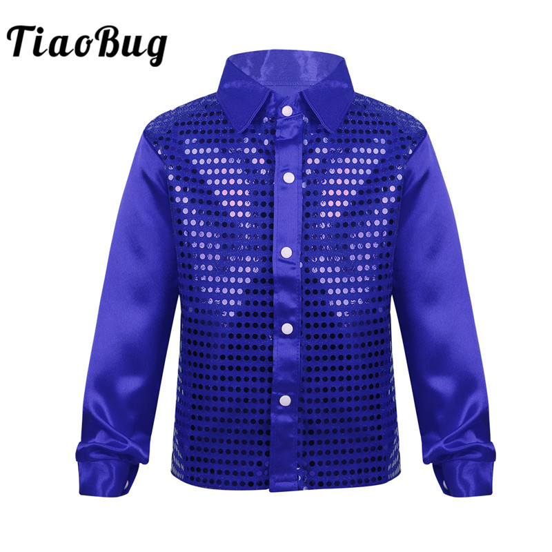 TiaoBug Kids Boys Shiny Sequin Long Sleeve Shirt Choir Jazz Dance Costume Child Stage Performance Hiphop Dance Top Rave Outfit