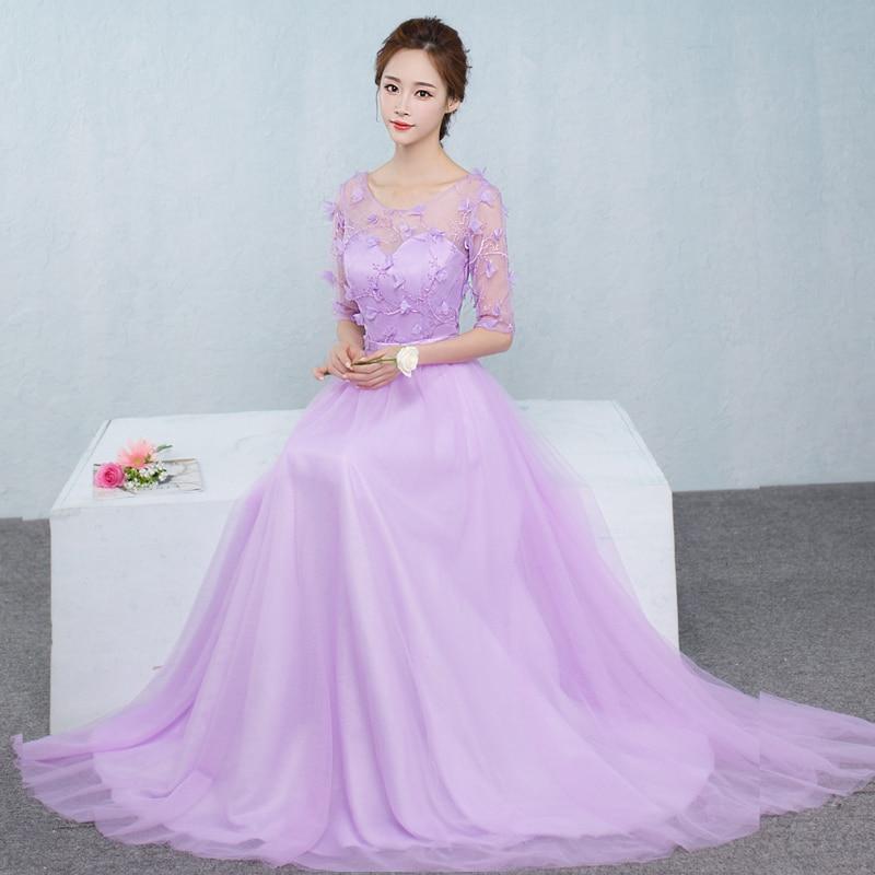 2017 new   Bridesmaid     Dresses   plus size stock cheap light purple long chiffon flower sexy romantic fashion sexy sister JYX843CZ
