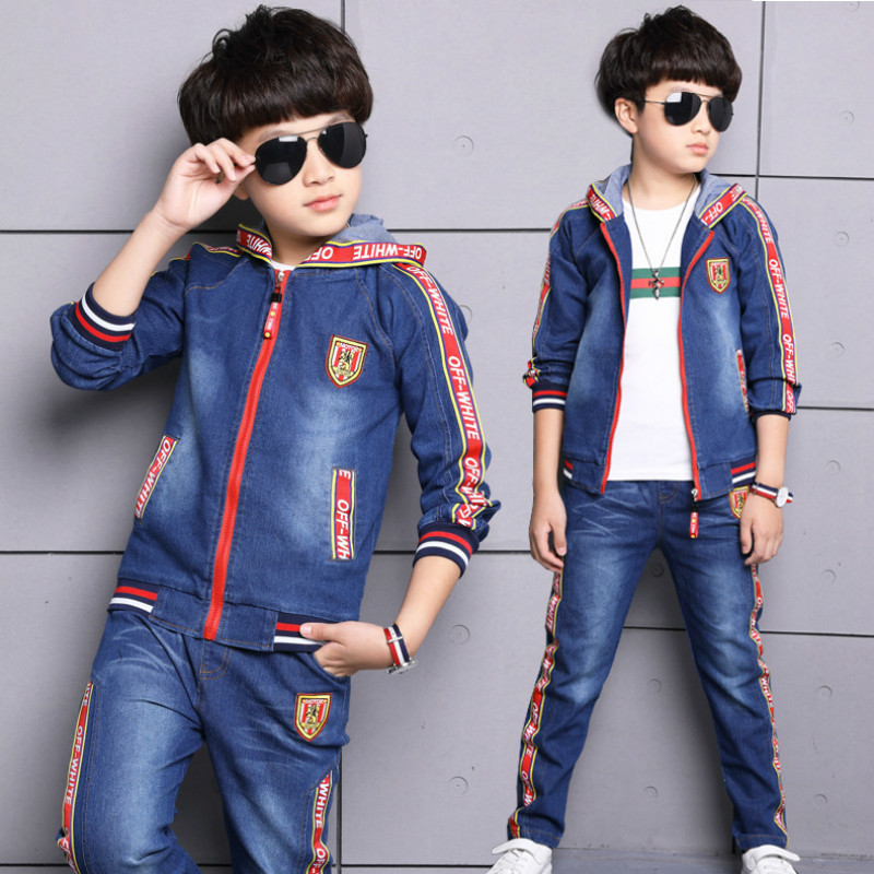 2018 new fashion Children's clothes set baby boy spring and autumn outfit denim hooded +jeans body suits cowboy two-piece suits kimocat boy and girl high quality spring autumn children s cowboy suit version of the big boy cherry embroidery jeans two suits