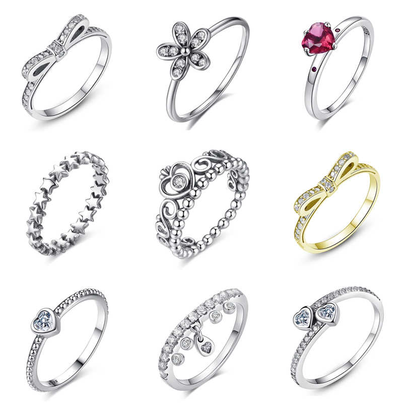 9c66eee1c Authentic 100% 925 Sterling Silver Ring My Princess Tiara Stackable Rings  Queen Crown Clear CZ