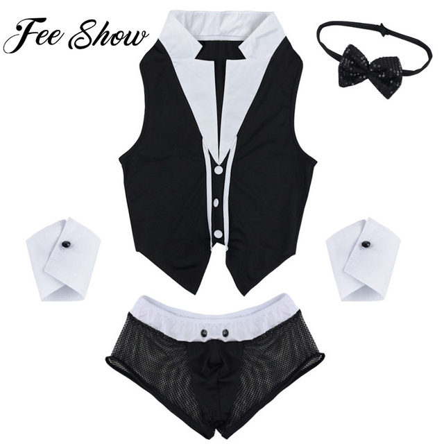 86b6d0989362d8 Hot Sales Men Sexy Maid Role Play Costume Outfits Tops Boxer Briefs  Underwear with Collar Handcuffs