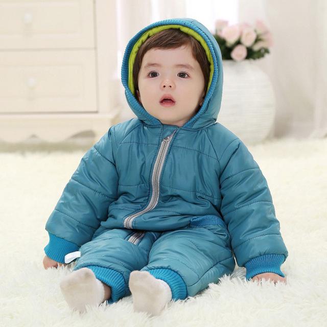 Venta caliente de Los Mamelucos Del Bebé de Invierno Los Niños de Algodón Grueso Traje de Chicas Ropa de Abrigo Chico Mono Niños ropa de Abrigo Ropa de Bebé 0-24 Mes