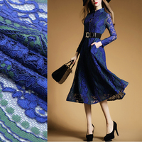 Imported high grade lace embroidery cloth blue with green decorative heavy three dimensional elastic keel fabric new dress fashi