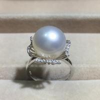wedding Women Gift word 925 Sterling silver real Import Australia Nanyang Gaultheria seawater pearl ring White petal fl