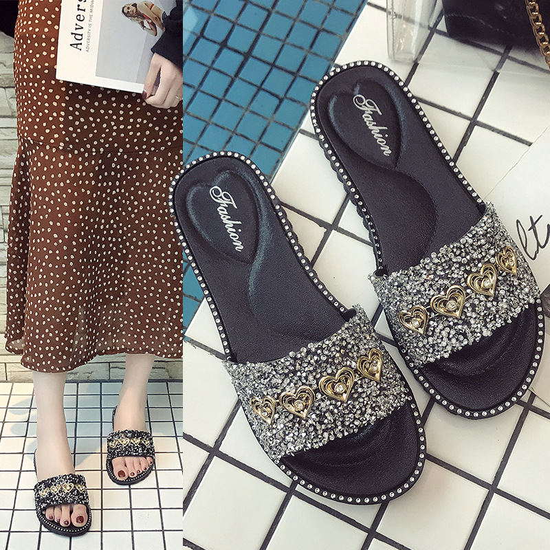 Outdoor Flat Slippers Women Summer Beach Shoes Fashion Bright Rhinestone Women Light Anti Slippery Black and Sliver Slippers in Beach Outdoor Sandals from Sports Entertainment