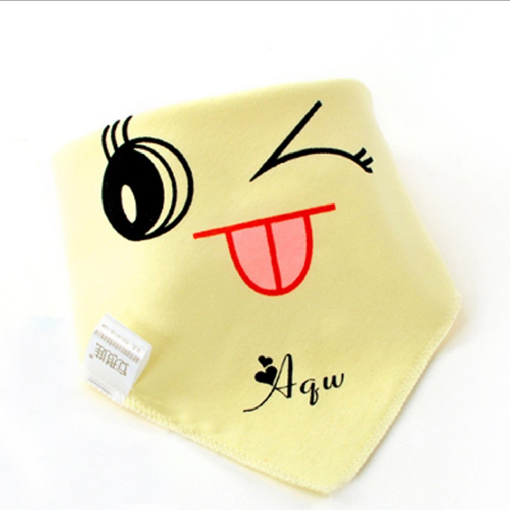 INSULAR Baby Bibs Triangular Scarf Double Layers Cotton Snap-fastener Headscarf Smiling Face Toddler Dinner Feeding Burp Cloths