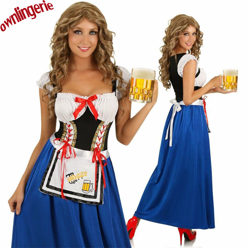 Sexy Free Shipping Female Oktoberfest Costume,Germany Blue /White Beergirl Costume,Carnival Long Maid Apron Fancy Dress M,L,XL