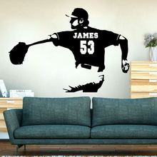 Large Custom Name Baseball Pitcher Number Wall Decal Boy Room Playroom Personalized Jersey  Player Sticker