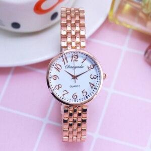 2018 female women dress fashion rose gold quartz wristwatch ladies girls gifts luxury hand catenary bracelet clock relog mujer