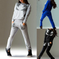 New Women Printed Wings Pattern Long-sleeved Sportswear Suits Printed blue Tops Sweatshirt Pants Casual Tracksuit Suit