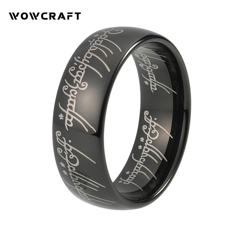 Lord Of Rings Dome Polished Laser Engraved Black Tungsten Carbide Ring a suit of vintage engraved rivet rings