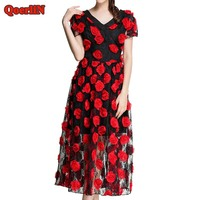 QoerliN Vintage Embroidery Rose V Neck Short Sleeve Long Dress Ladies 2018 Spring Elegant Evening Party