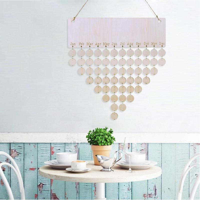 2019 Calendario DE MADERA DIY recordatorio de cumpleaños fecha especial registro signo planificador en blanco tablero hogar pared colgante Calendario decoración regalo