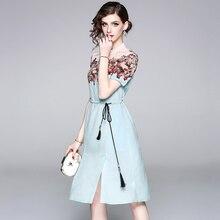 2018 New Arrival HIGH QUALITY Designer Runway Dress Women's Elegant Printed Summer Dress