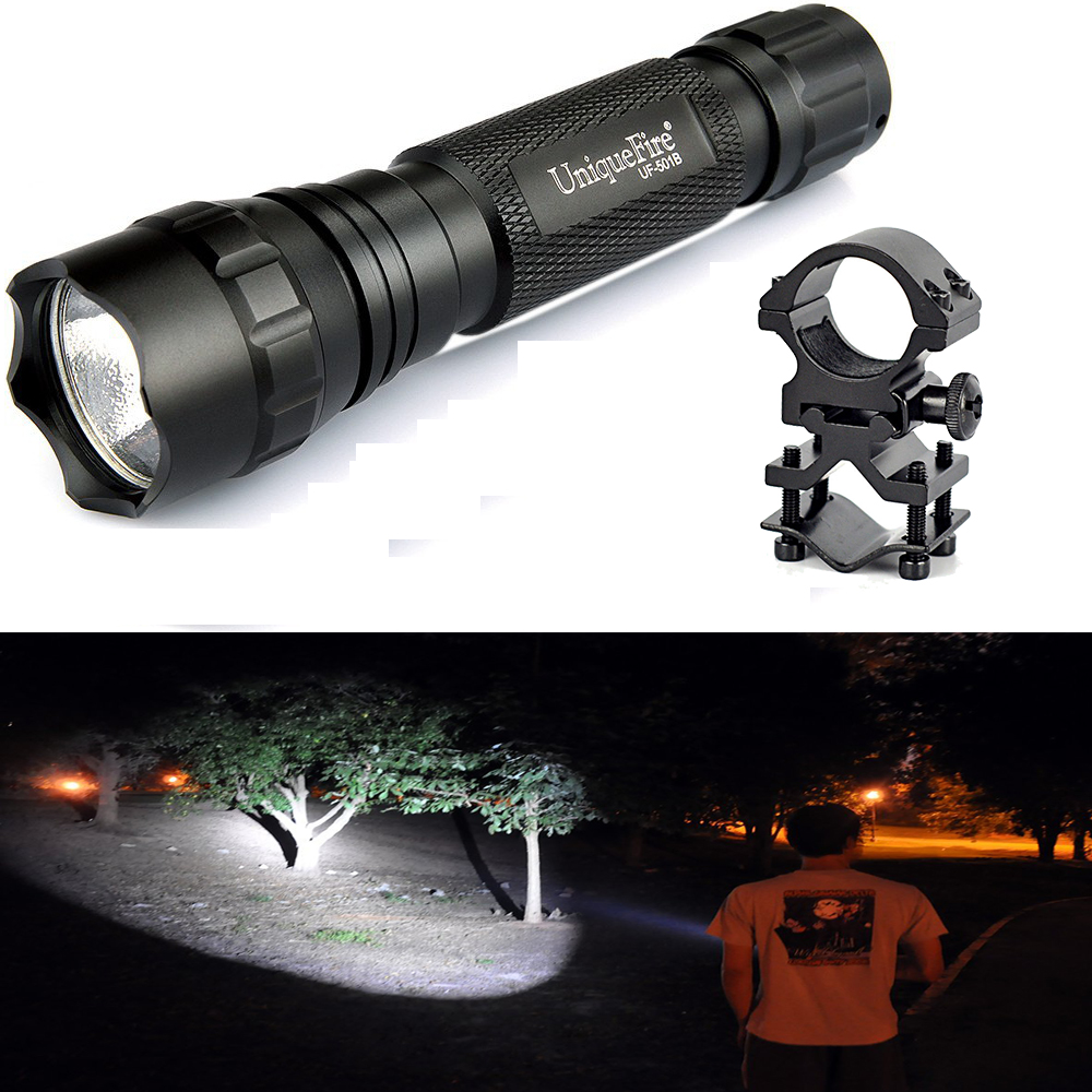 UniqueFire Led Flashlight 18650 WF-501B Cree XML Super Bright 1200LM Non-adjustaable Lantern+QQ07 Scope Mount uniquefire 1508 75 cree xml xml2 led flashlight torch 1200lm single file lantern 18650 adjustable focus for camping