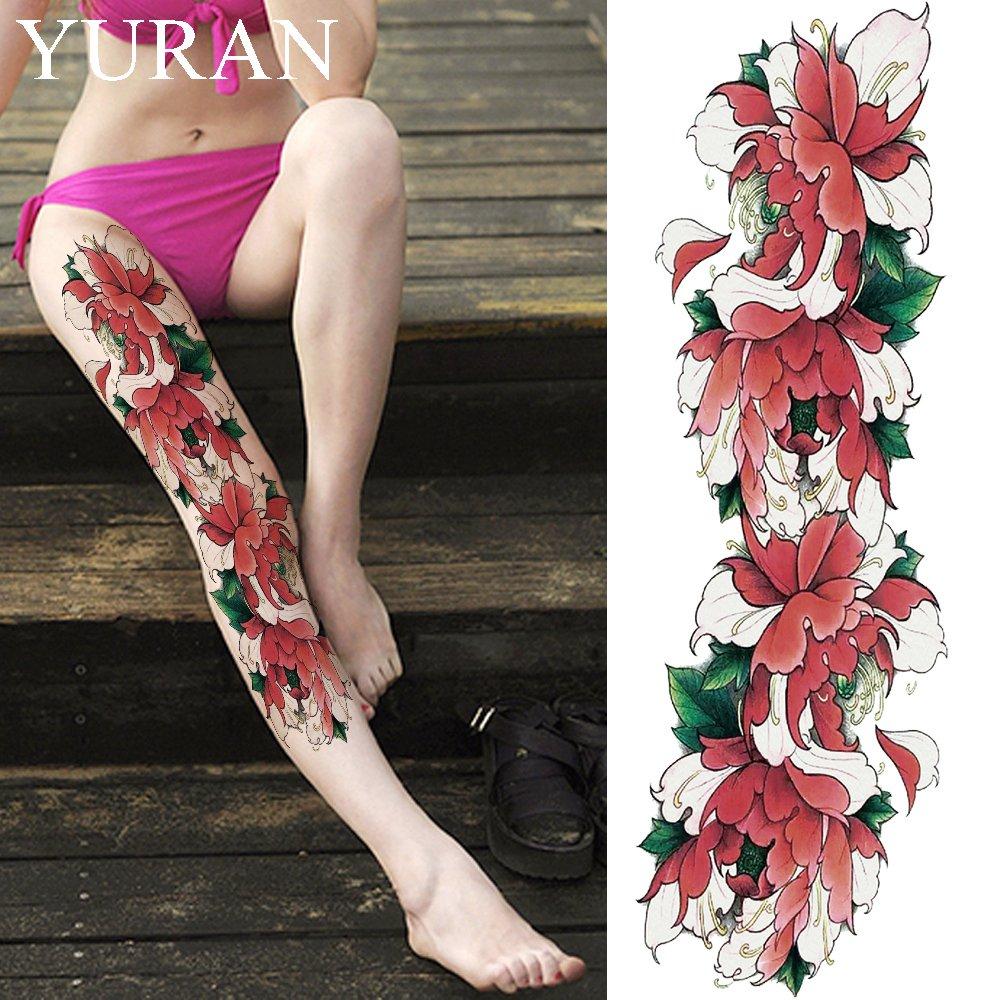 Sexy Watercolor Lotus Flower Temporary Tattoo Stickers Girls Full Leg Body Art Tattoo Wo ...