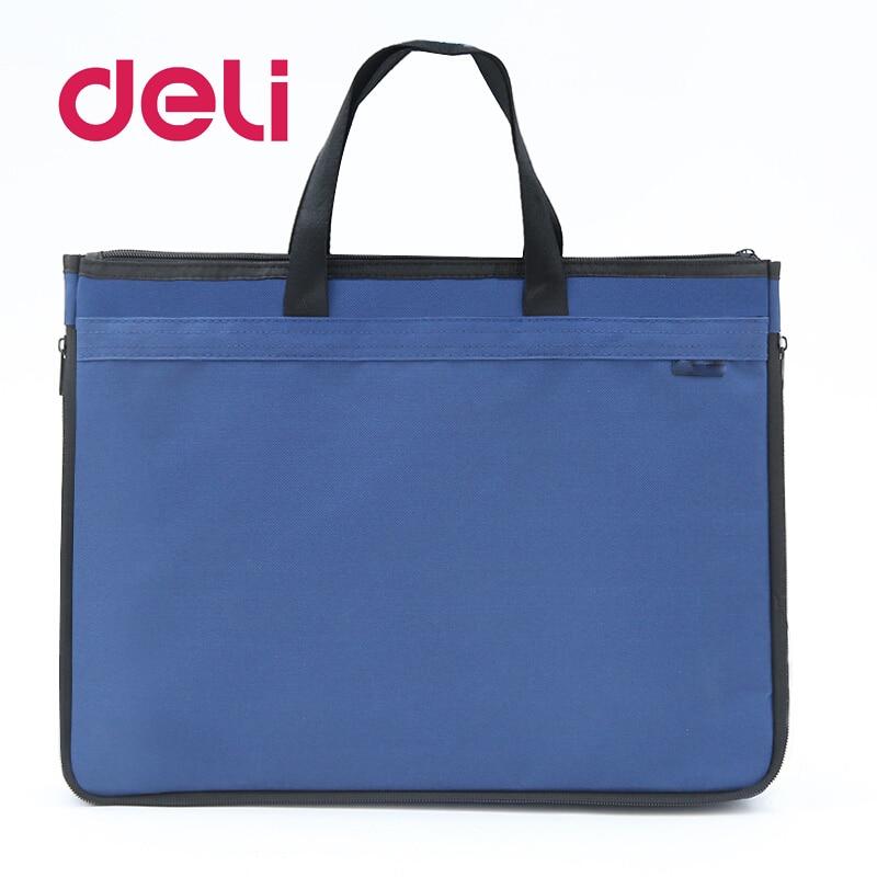 Deli 1pcs Big Capacity Double Layers Document Holder Zipper File Bag Handle Waterproof Canvas Handbag Papers Documents Business