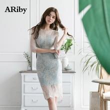 купить Women Dress Summer Elegant Dress 2019 New Fashion Lady High Quality Lace Bodycon Print Casual O-Neck Splicing Knee-Length Dress по цене 1406.18 рублей