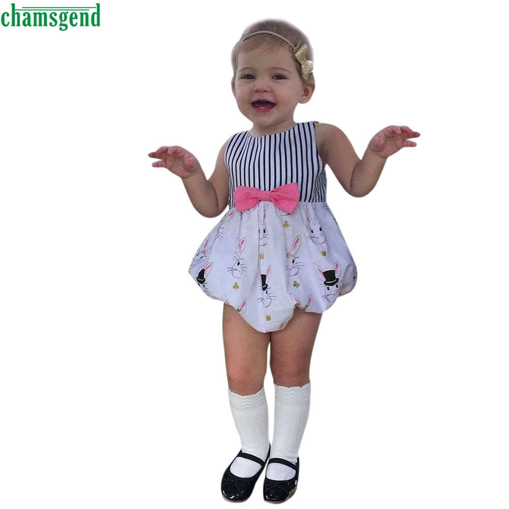CHAMSGEND  Baby Boys Girls Easter Rabbit Print Striped Romper Jumpsuit Outfits  may15  P30 drop shipping