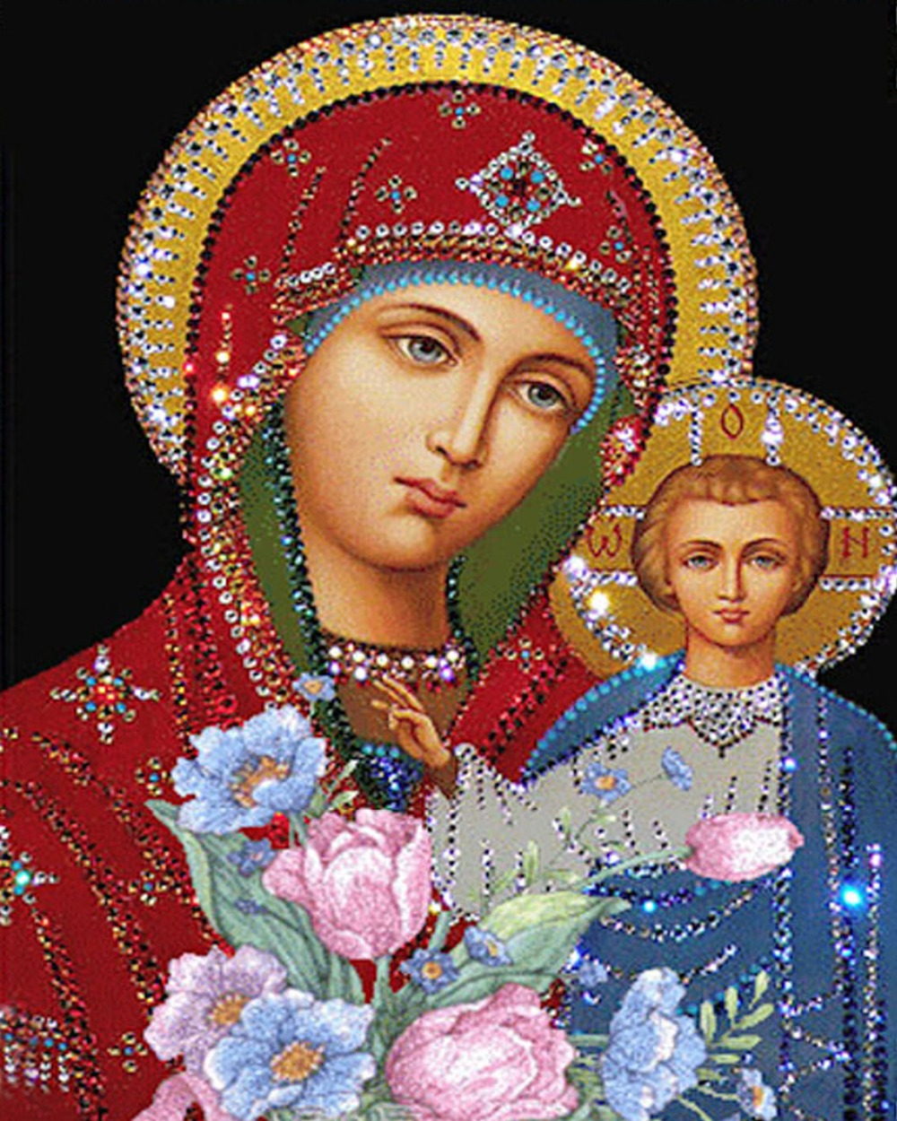 New Virgin and Child Full Diamond Painting 5D DIY Canvas Paintings Religion Cross Stitch Kits For