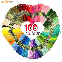 KOKNIT 100pcs Cross Stitch Threads Random Rainbow Color Embroidery Floss Sewing For Women DIY Tool