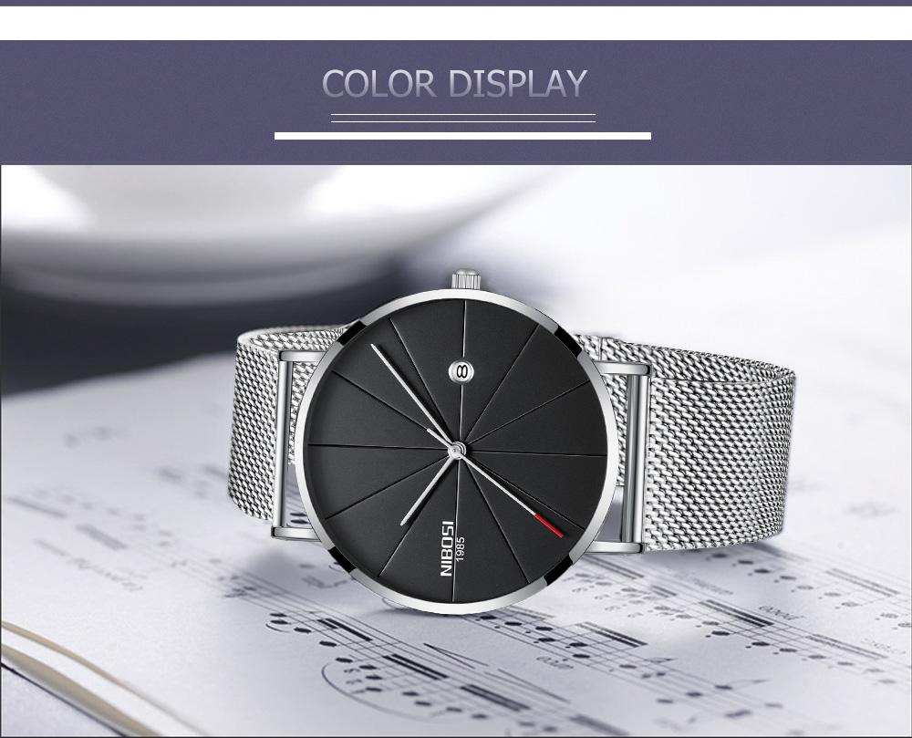 NIBOSI watch men black quartz wristwatches stainless steel mesh brand  watches men ultra thin quartz relogio masculino dourado (7)