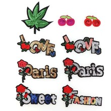 1Pc LOVE PARIS Cheery Sequins Iron On Patches Sew-on Embroidered Patch Motif Applique For Clothing Sewing Tools