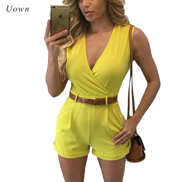6d6491bb070 Summer One Piece Jumpsuits Women s Casual Short Rompers Outfit Office Work  Playsuit Yellow Sleeveless Fitted Jumpsuit Overalls