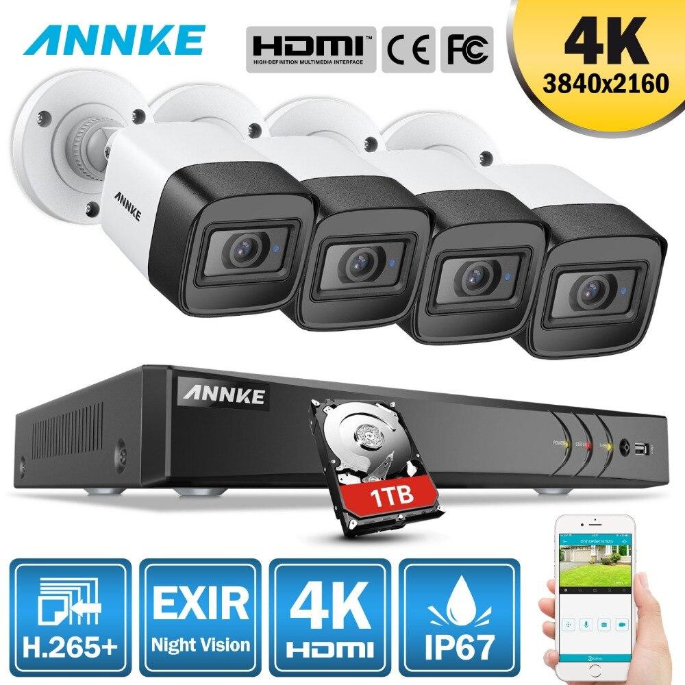 ANÃO 8CH 4 K Ultra HD DVR H.265 + 8MP 4 PCS IP67 Weaterproof Câmera de CCTV Sistema de Segurança Ao Ar Livre Câmera vigilância Por Vídeo de Metal