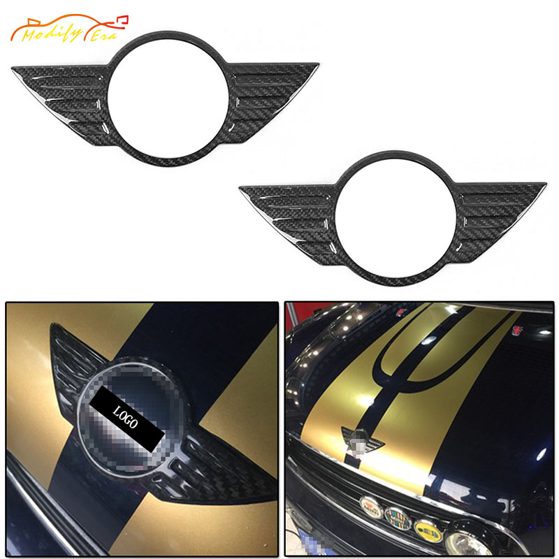 1Set/2Pcs Carbon Fiber Lid Trunk Hood Wings Badge Covers For Mini Cooper Countryman R60  car styling car Accessories