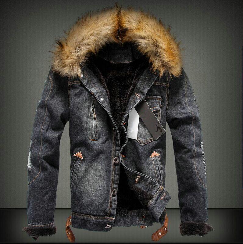 Winter Men Ripped Jean Windbreaker Coat Male Denim Fleece Jacket With Faux Fur Collar Men Warm outwear chaquetas hombre 101609