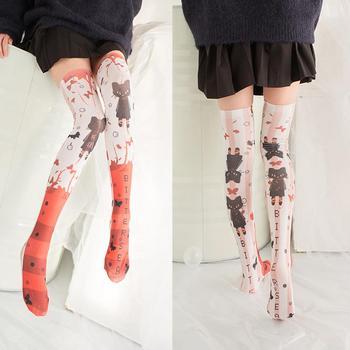 48541986f Medias de Nylon de alta calidad de verano para gatos de moda para mujeres  niñas escolares Kawaii medias finas sobre la rodilla 5S-SW03