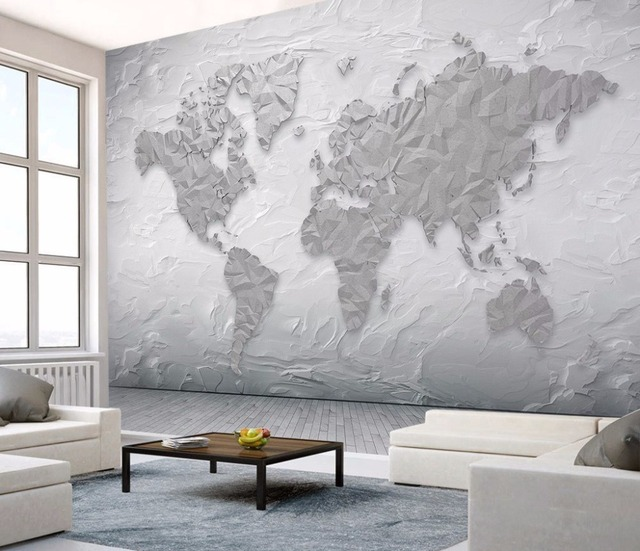 Bacaz 8d Cement Texture World Map Wallpaper Mural For Living Room Sofa Background Stone
