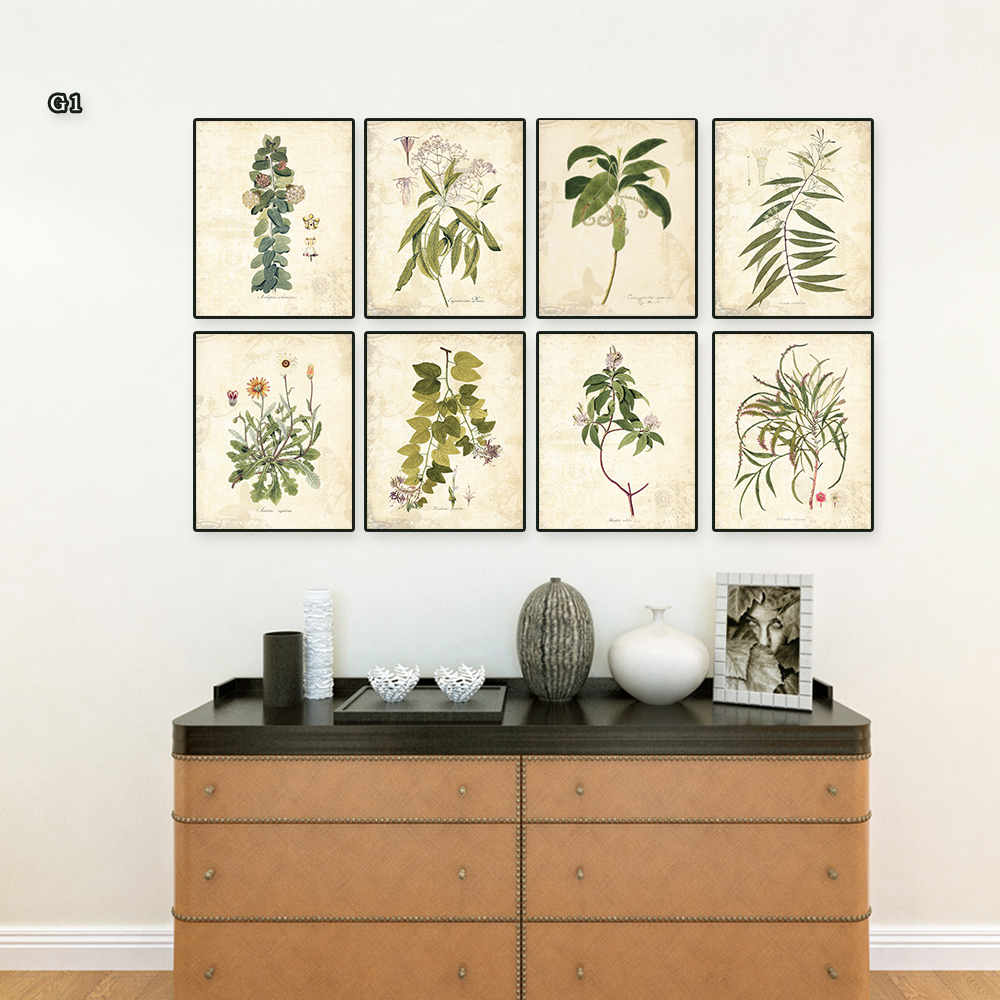 Vintage Green leaves aromatique watercolor style art prints 8 in 1/ Botanical Wall Art Plant Decor Green Plant Leaf