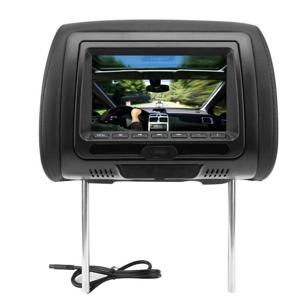 Universal 7 Headrest Car DVD Player 800*480 Black Monitors with Bluetooth Earphone Internal Speakers Video Games FM Transmitter black 2pcs lot universal digital tft screen zipper car headrest dvd player monitor usb fm game disc remote with 2 x ir headsets