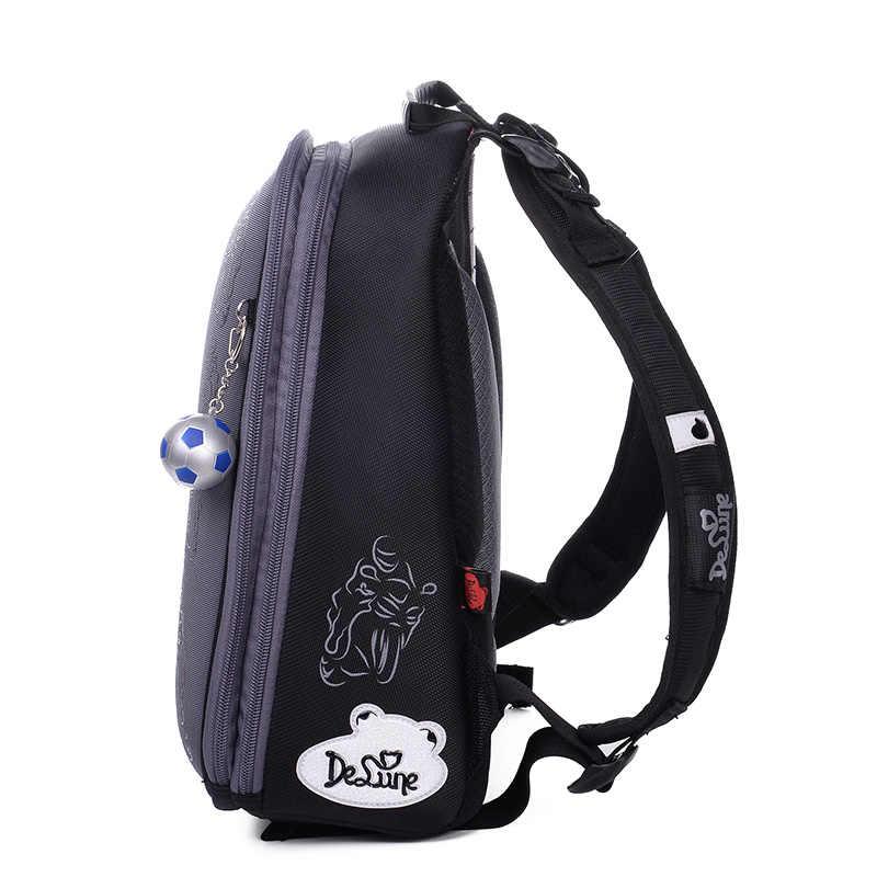 DELUNE ортопедический Детский Школьный Рюкзак Сумка водонепроницаемая известная школьная сумка для детей начальной школы для девочек и мальчиков твердая оболочка EVA